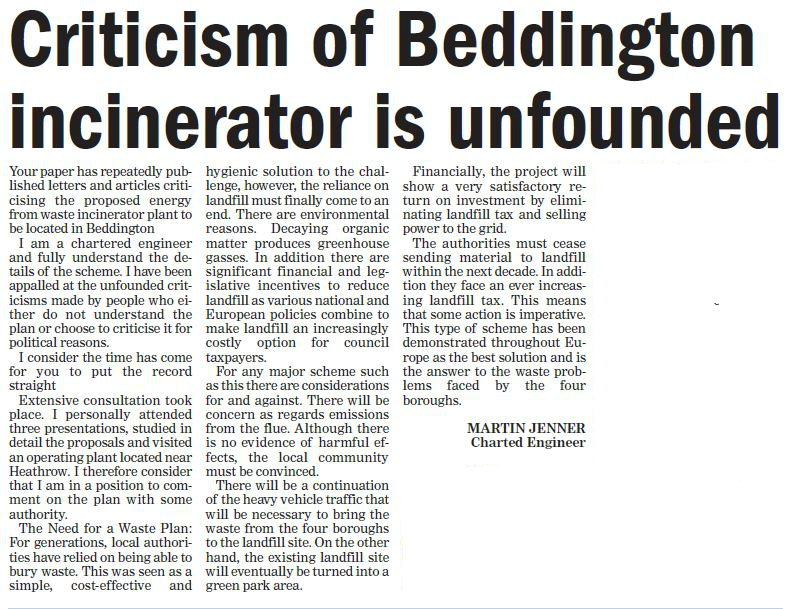 criticism of incinerator unfounded - sutton guardian 6th feb