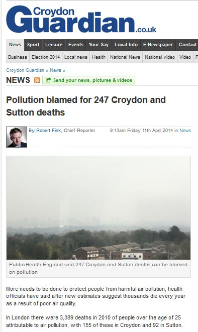 croydon guardian pollution kills