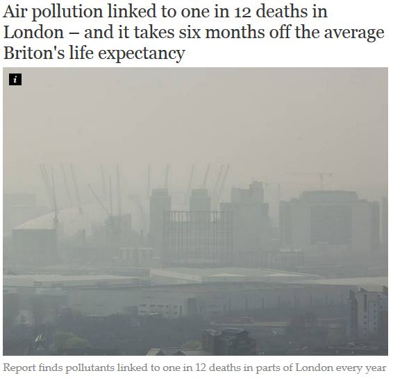 independent newspaper 1 in 12 deaths linked to pollution