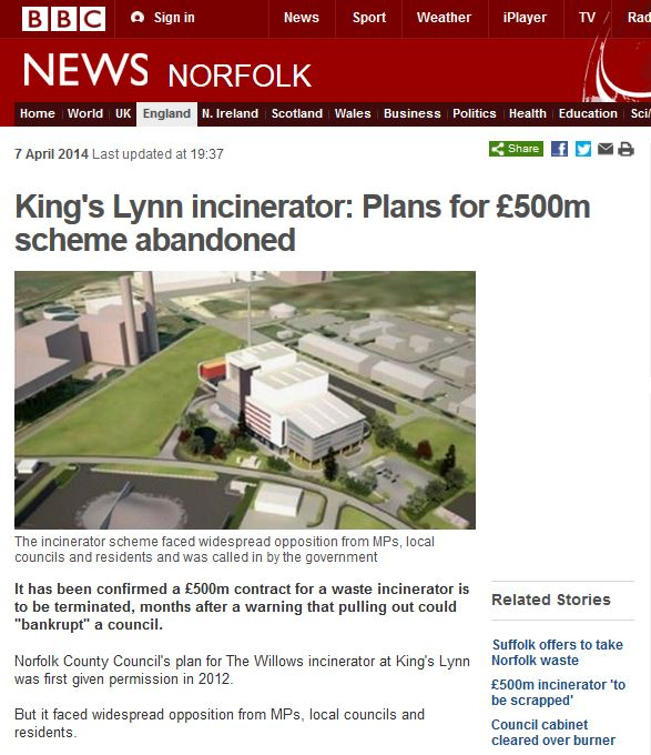 kings lynn incinerator abandoned bbc news