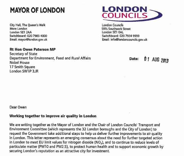 mayor letter to gov about air pollution