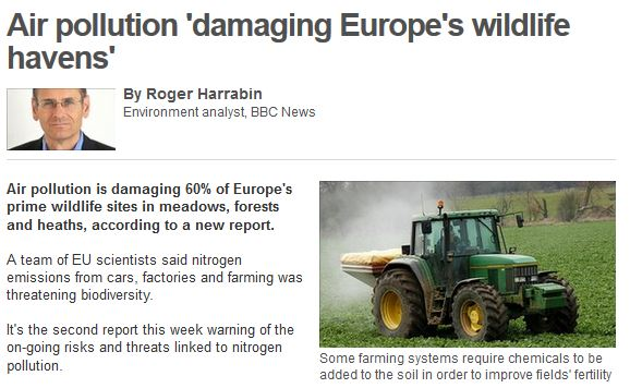 air pollution damaging europe's wildlife bbc july 2011