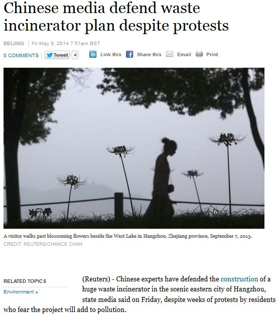 reuters china incinerator may 2014